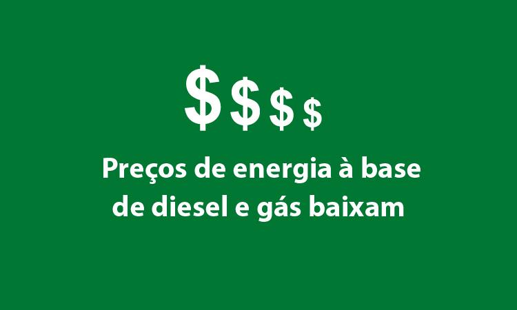 Preços de energia à base de diesel e gás baixam